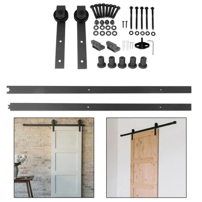 2m porte coulissante en bois design parfait pour grange armoire chambre