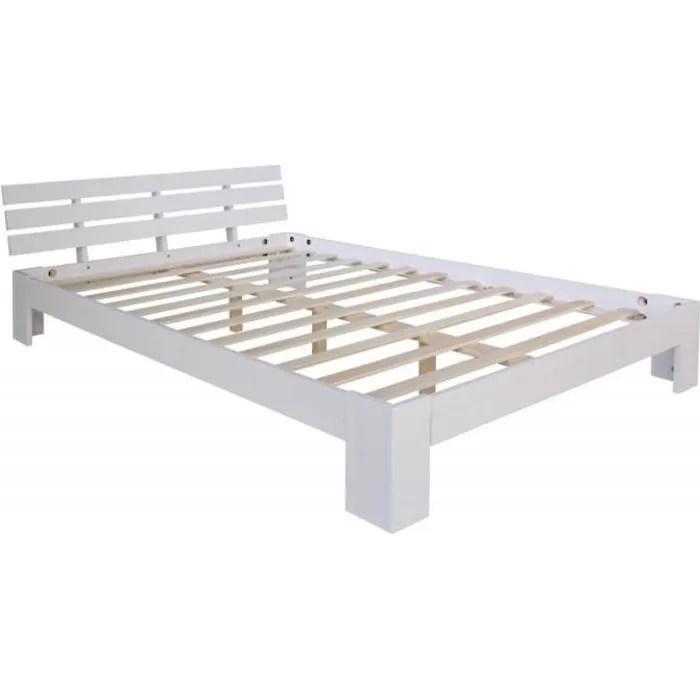 lit double 2 personnes avec sommier a lattes en bois blanc 180x 200cm lit06161