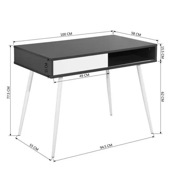 bureau gris blanc bois