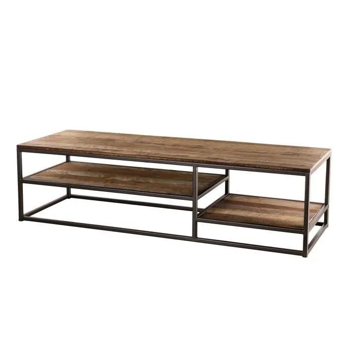 table basse rectangulaire avec tablettes teck recycle acacia mahogany et metal l 150 x p 50 x h 40 5 cm