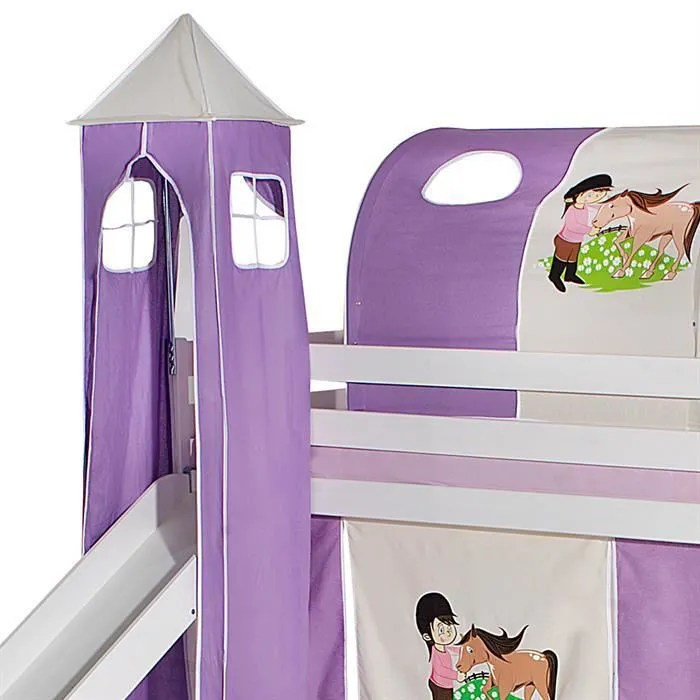 donjon tour pour lit sureleve superpose mi hauteur mezzanine avec toboggan tissu coton motif poney violet