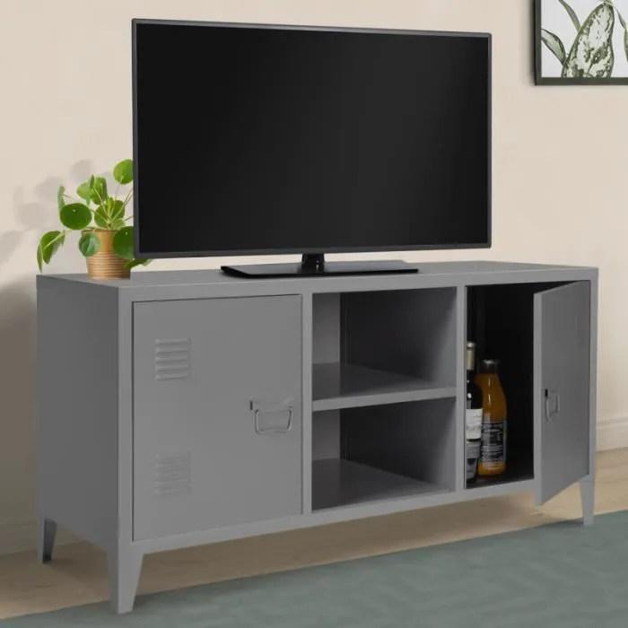 meuble tv 2 portes estel en metal gris fonce