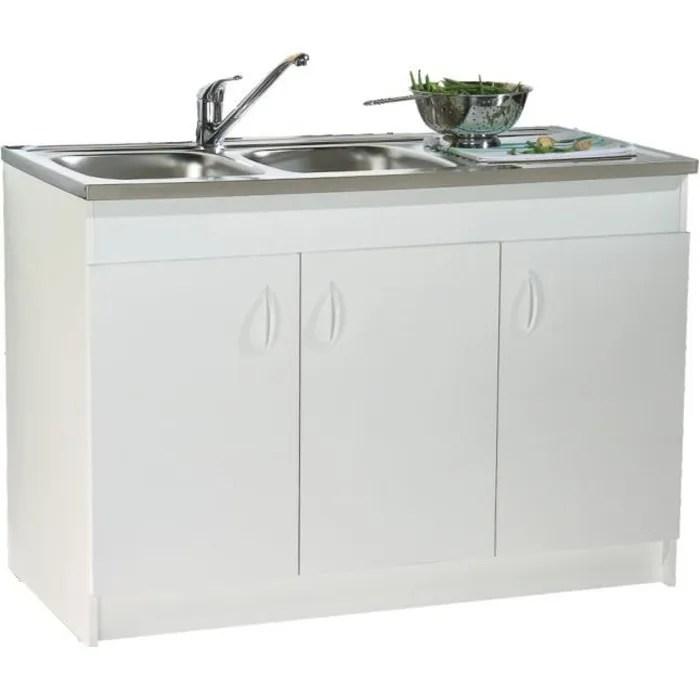meuble sous evier 3 portes melamine blanc 120x60