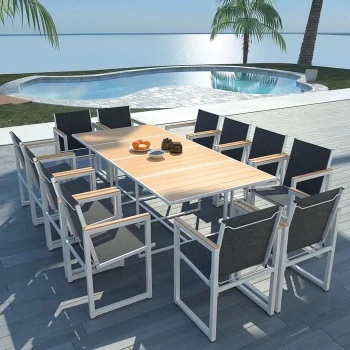 salon de jardin 12 personnes meuble de jardin ensemble table et chaise de jardin et dessus de table en wpc aluminium