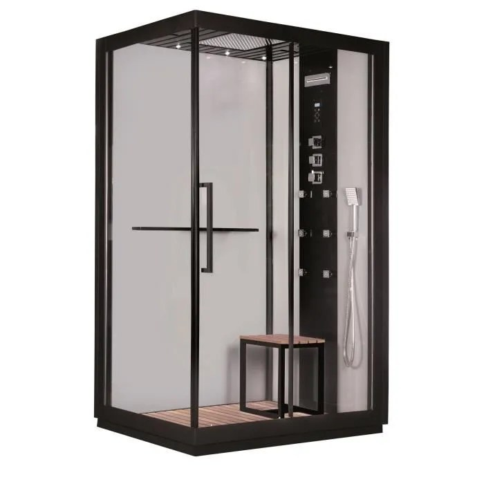 gelco cabine de douche integrale black hydromassante 90x120 cm