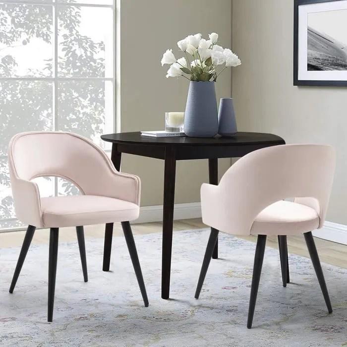 furnish1 lot de 2 fauteuil chaise scandinave chaise de salle a manger salon bureau chambre tissu velours rougir l55 x p58 x h77cm