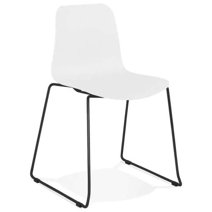 chaise moderne expo blanche avec pieds en metal noir