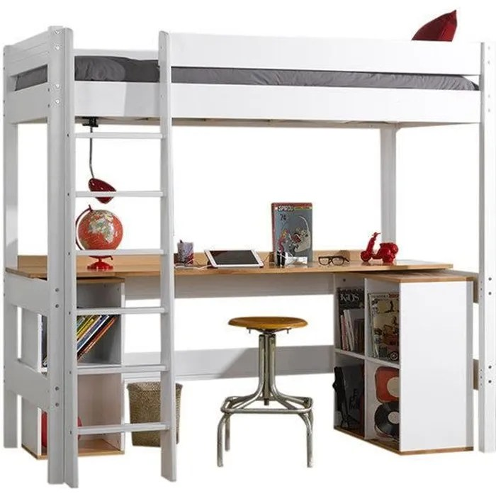lit mezzanine avec bureau clea blanc 90x190 cm