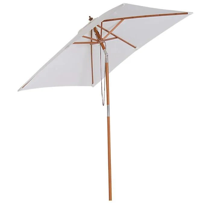 parasol rectangulaire inclinable bois polyester ha