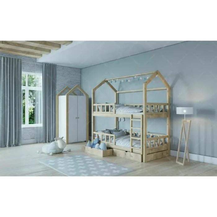 lit cabane superpose pour enfants avec barrieres et tiroir 120x60cm couleur bois
