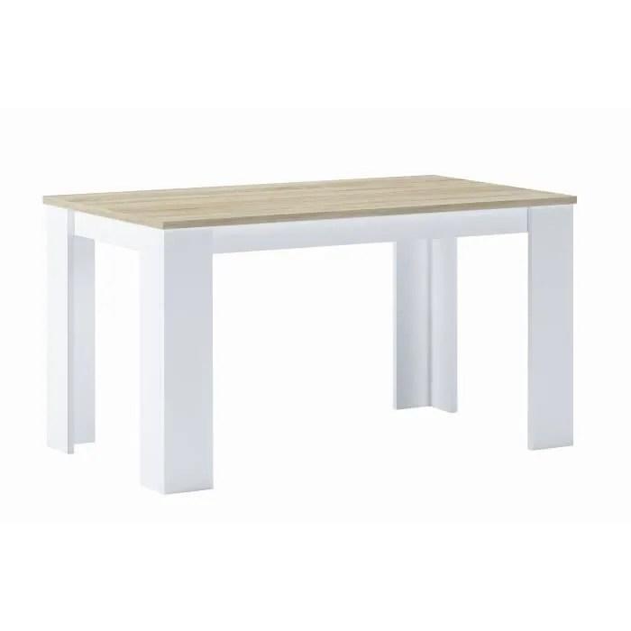 table a manger 140 cm chene clair et blanc mesures 80 l x 138 longueur 75 cm hauteur