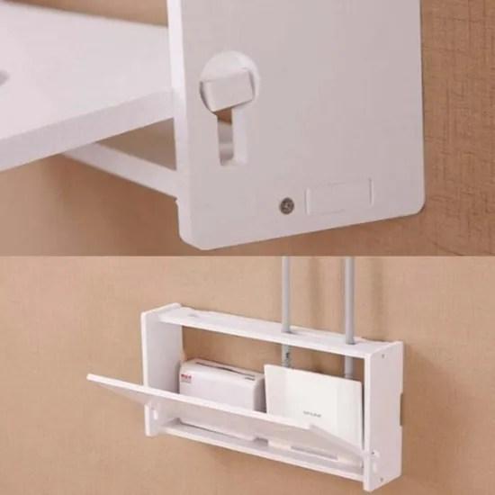 boite de rangement pour routeur sans fil wifi rangement de cables support suspendu mural etagere en plastique et bois decoration de