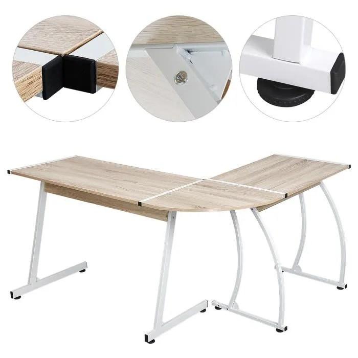 bureau d angle en forme de l en bois coin bureau ordinateur station de travail grand pc gaming bureau etude couleur chene