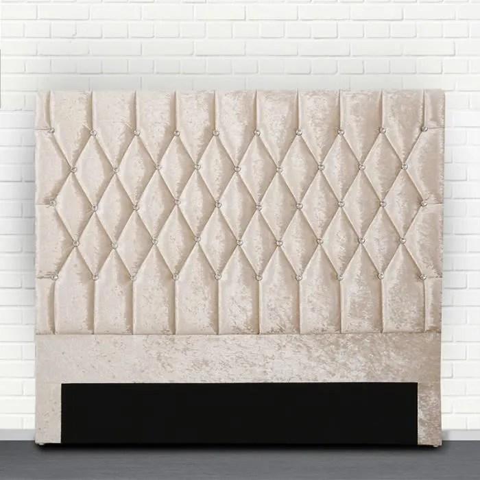 tete de lit capitonne avec strass focus beige 160 cm