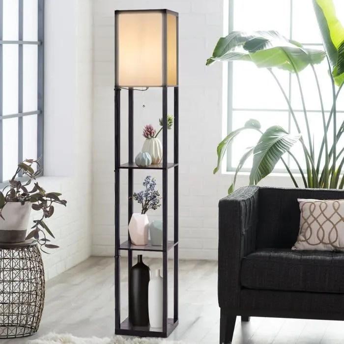 costway lampadaire en bois 1 6m lampe salon sur pied avec 3 etageres de stockage design scandinave pour chambre 220 240v 60w