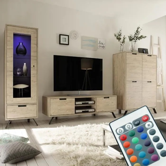 ensemble meuble tv moderne couleur bois clair jace