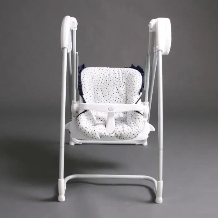 2 en 1 chaise haute balancelle electrique blanch
