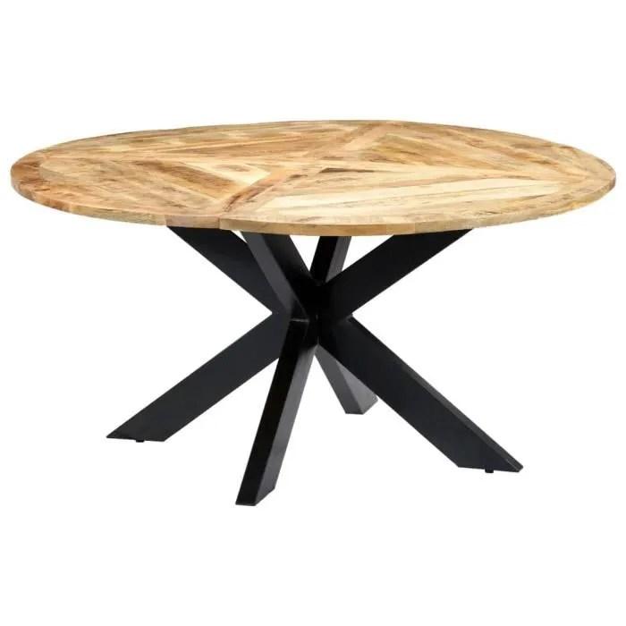 table de salle a manger rond 150x76 cm bois de manguier massif
