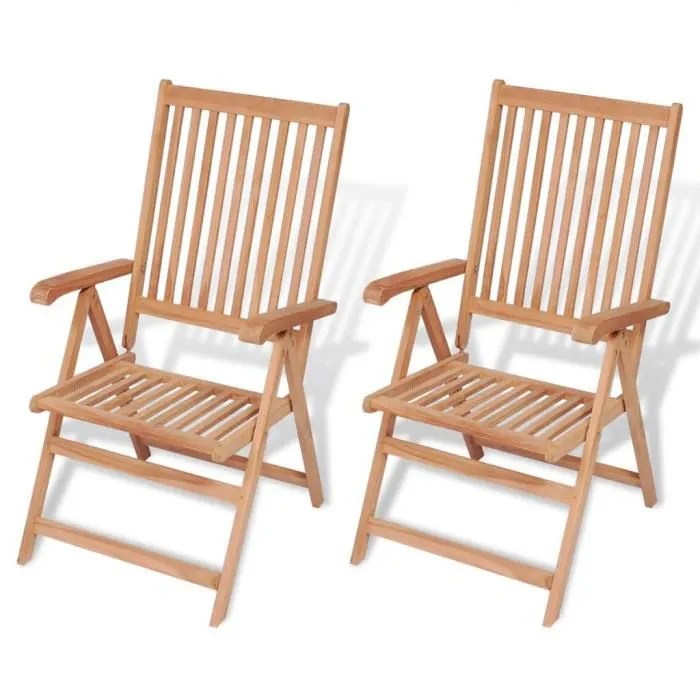 chaise inclinable de jardin 2 pieces bois de teck