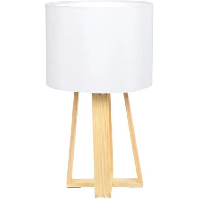 lampe sur pied en bois h 34 5 cm blanc