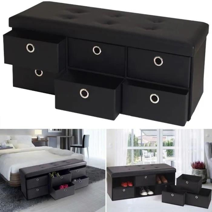 banc coffre rangement noir 6 tiroirs 100x38x38 cm pvc
