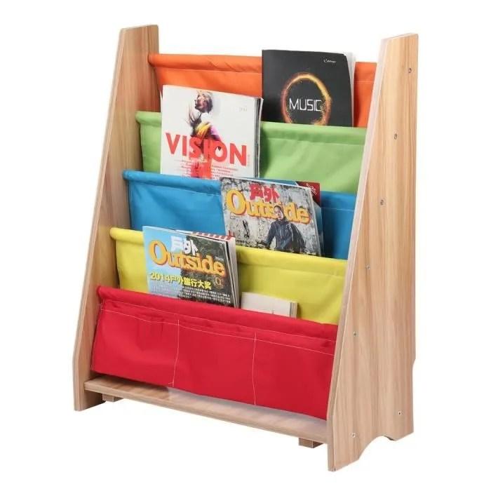 rack bibliotheque enfant etagere blanc 4 couches en bois meuble enfant de rangement