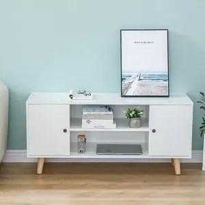 meuble tv blanc pied bois