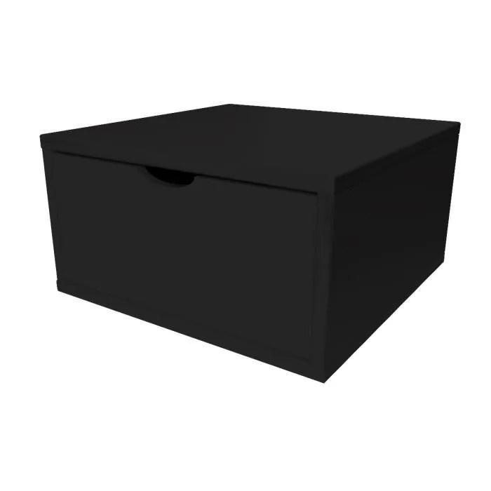 cube de rangement largeur 50 cm tiroir couleur noir