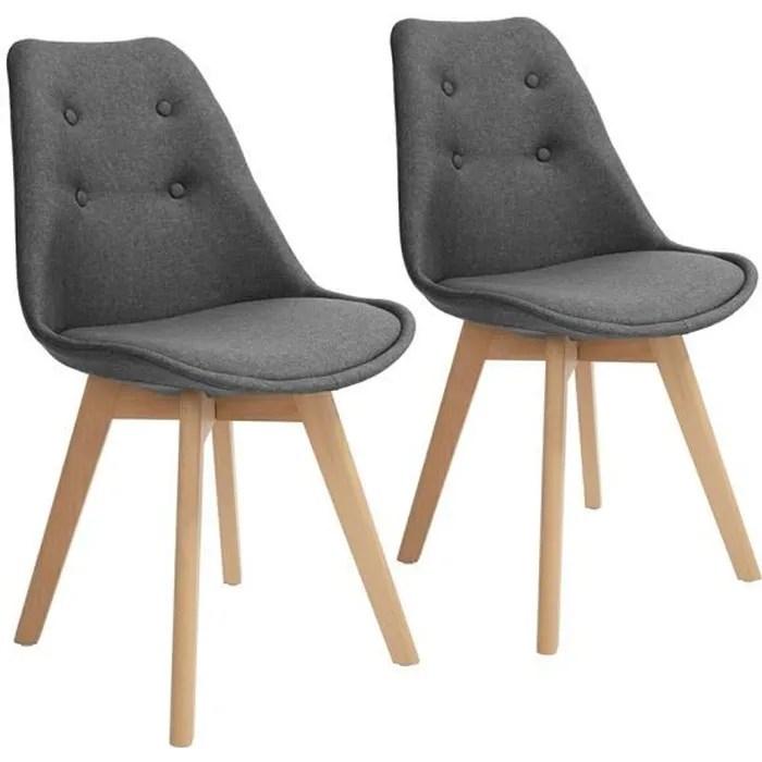lot de 2 chaises scandinave salle a manger siege en tissu gris bois massif hetre