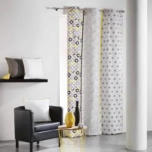 double rideaux gris jaune