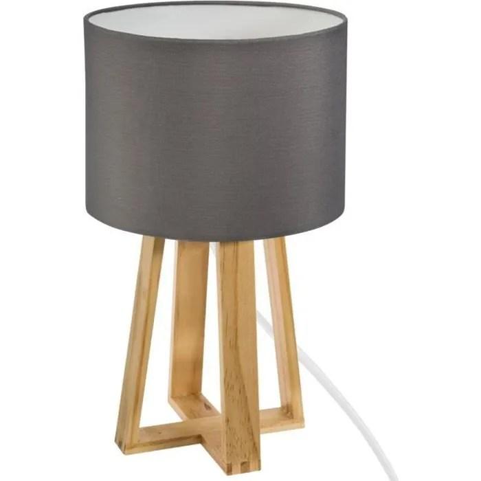 lampe sur pied en bois h 34 5 cm gris clair