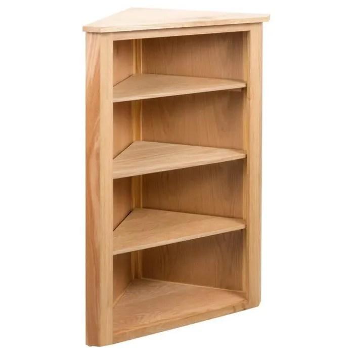 etagere d angle meuble de rangement bois de chene
