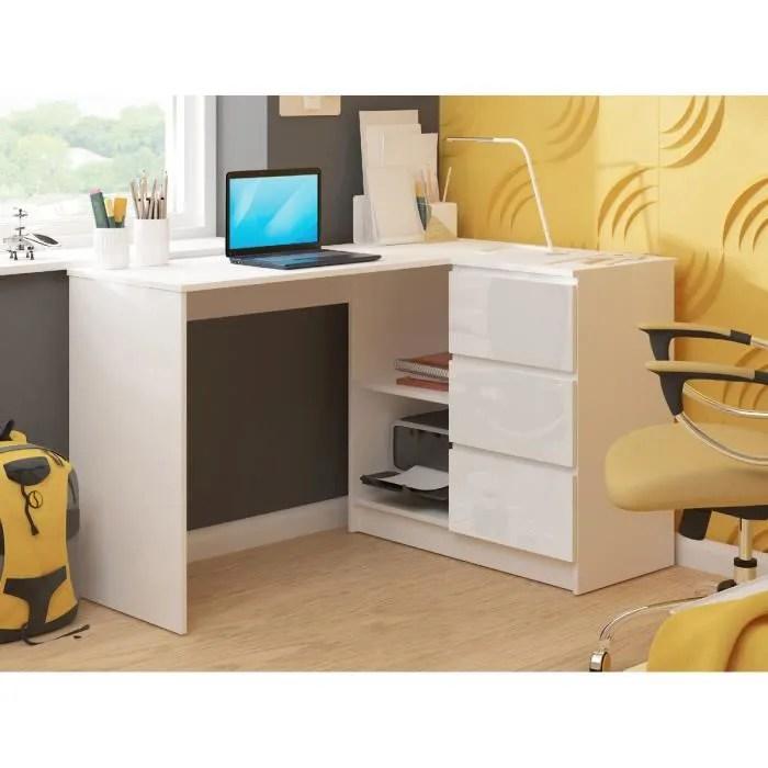 sundar bureau informatique d angle moderne 124x85x77 3 tiroirs 2 grandes niches blanc laque