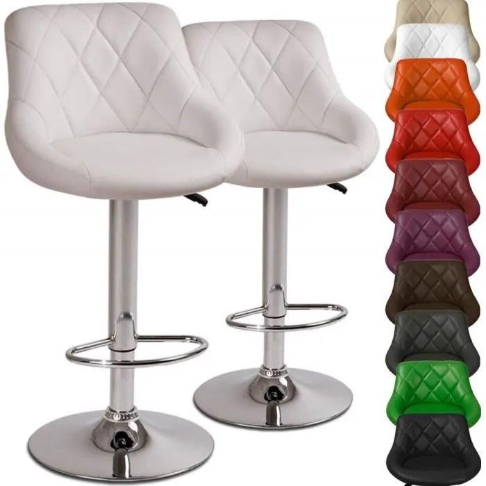 tabouret chaise de bar pivotant en simili cuir et chrome blanc