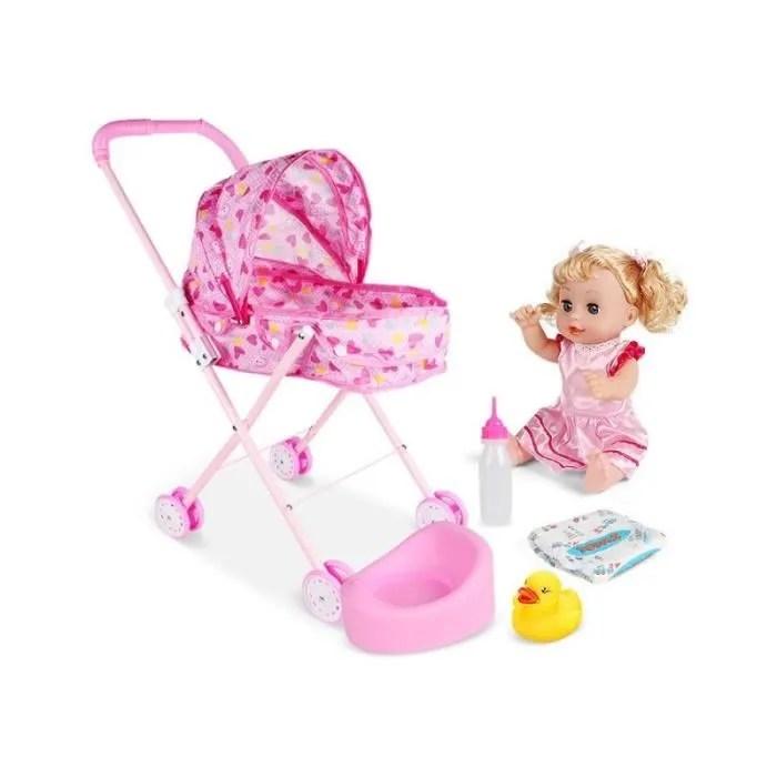 bebe confort poussette pour poupee trendy poussette de poupee coeurs rose jouet de simulation landau pour enfant cadeau education