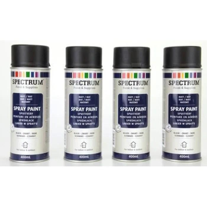 lot de 4 bombes noir mat peinture en aerosol 400ml bois metal aluminium etc