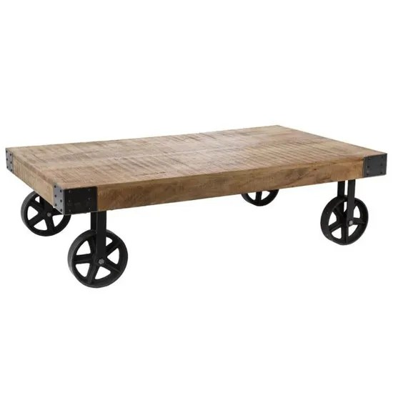 atmosphera table basse montee sur 4 roues vintage et industrielle collect moments bois noir