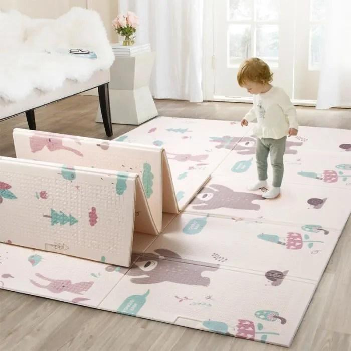 tapis de jeu de bebe reversible 2 1 5m pliable impermeable