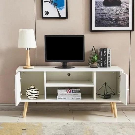 yipeema meuble tv scandinave decor blanc pieds e