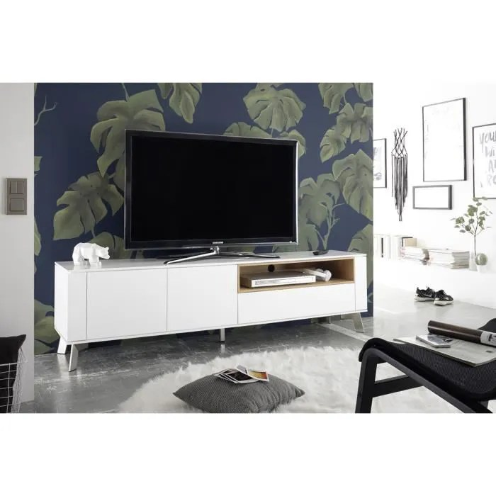meuble tv blanc mat avec niche en chene l180 x h