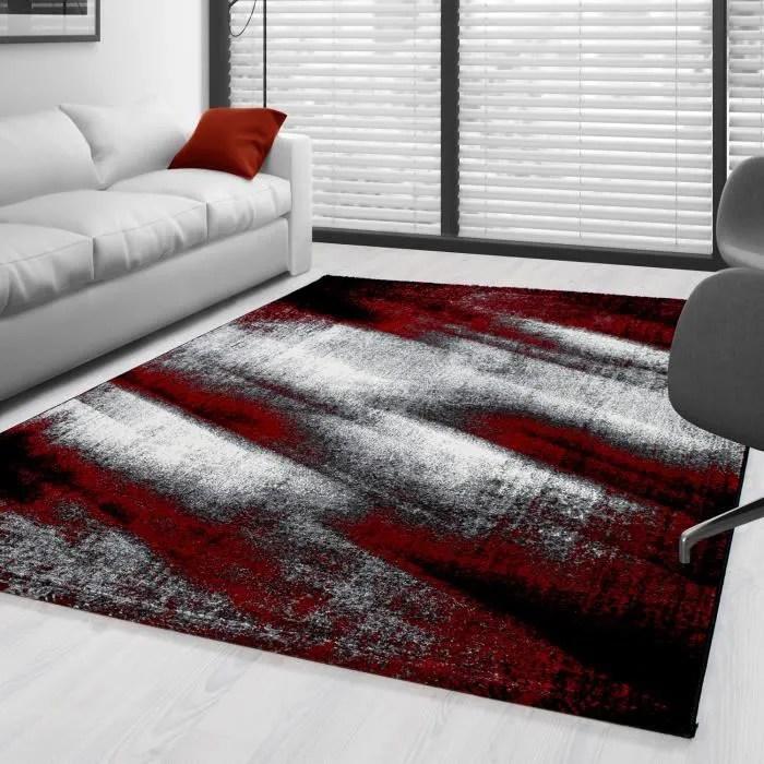tapis moderne design salon abstrait sable motif noir gris rouge blanc 160x230 cm
