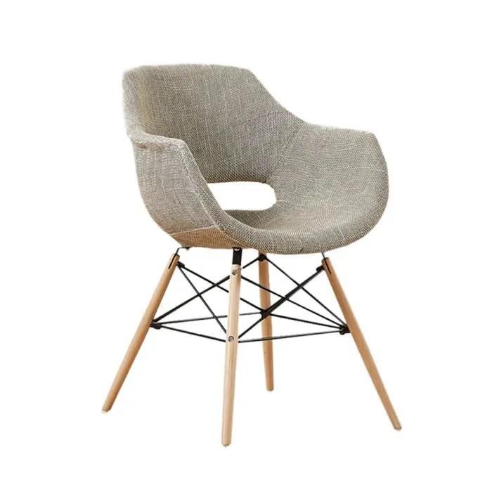 chaise en tissu olivia marron design scandinave salle a manger salon cuisine pieds en bois