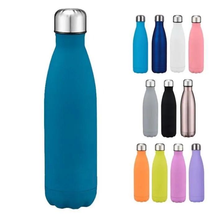 500ml bouteille d eau sport gourde inox isotherme sans bpa e bleu