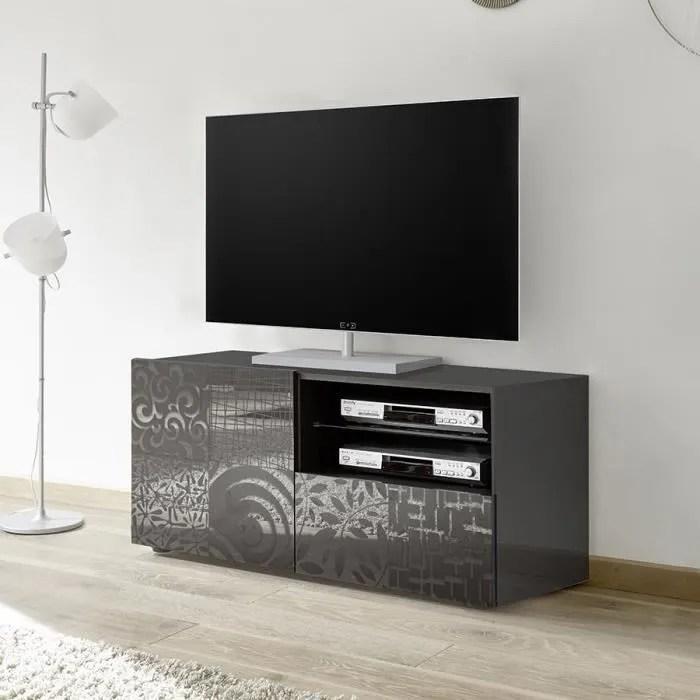 petit meuble tv 120 cm gris laque design elma 2 a