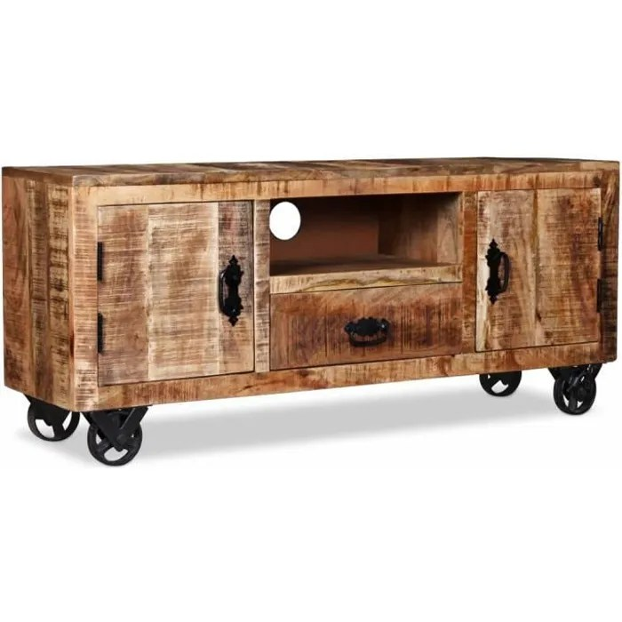 meuble tv industriel 2 placards 1 tiroir 1 compart