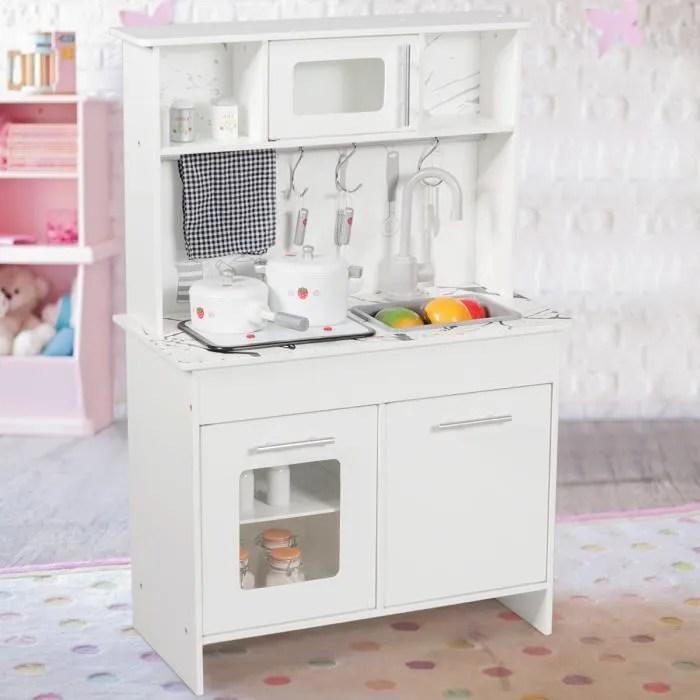 costway cuisine enfant cuisine jouet pour enfants en bois avec ustensiles accessoires et lumieres et sons reels 3 ans