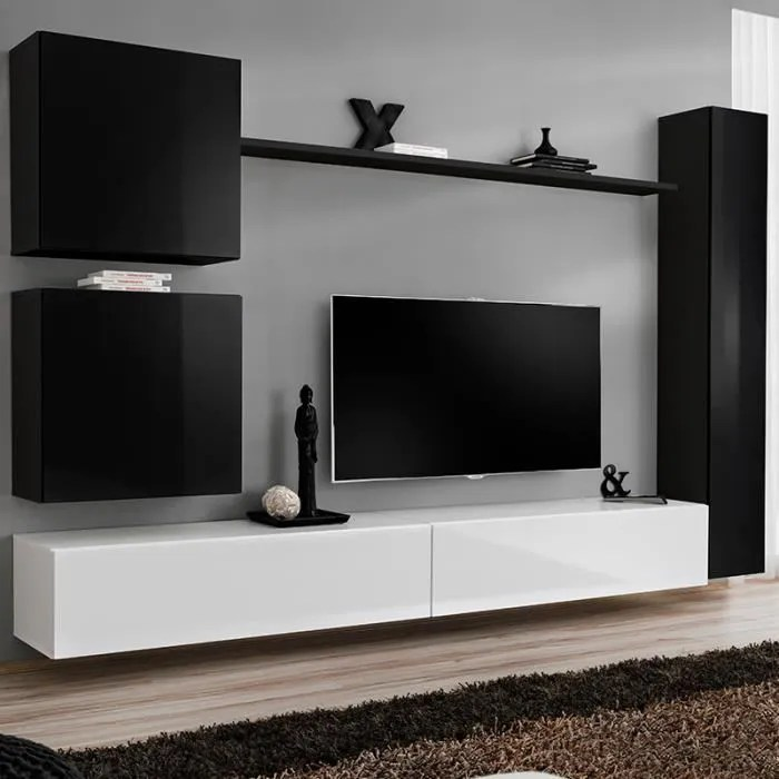 meuble tv suspendu design noir et blanc latiano 2