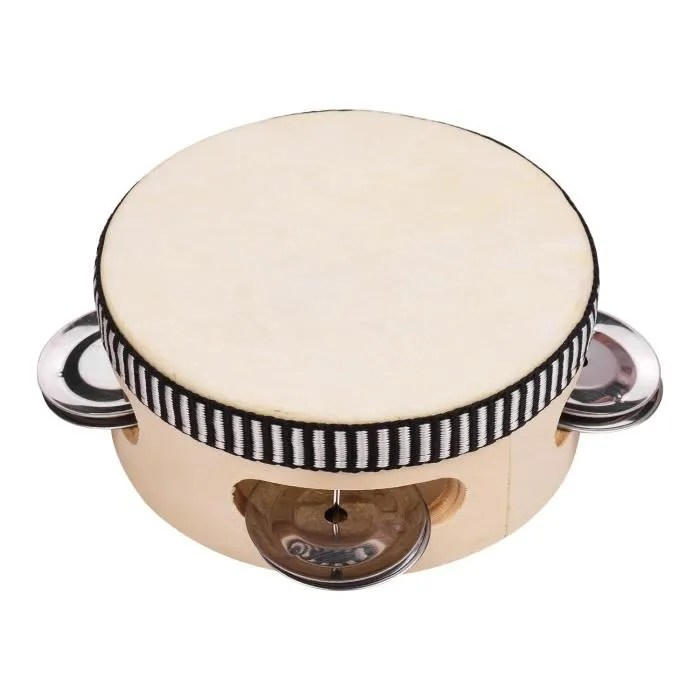 Tambourin De Main En Bois De 4 Pouces Avec Metal Simple Rangee Jingles En Peau De Mouton Tambour De Peau De Tambour Tambour De D 94 Achat Vente Tambour De Freins