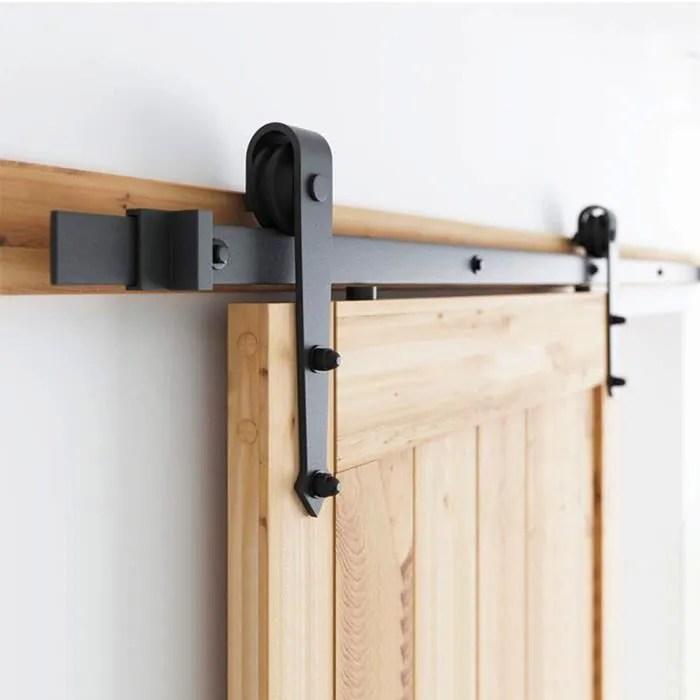 luxs 2m kit de rail pour porte coulissante poulie xiphoide ensemble industriel pour porte suspendue en acier systeme stable