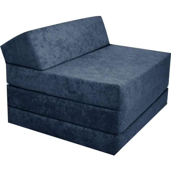matelas d appoint pliant avec appuis tete futon 200x70x10 cm bleu